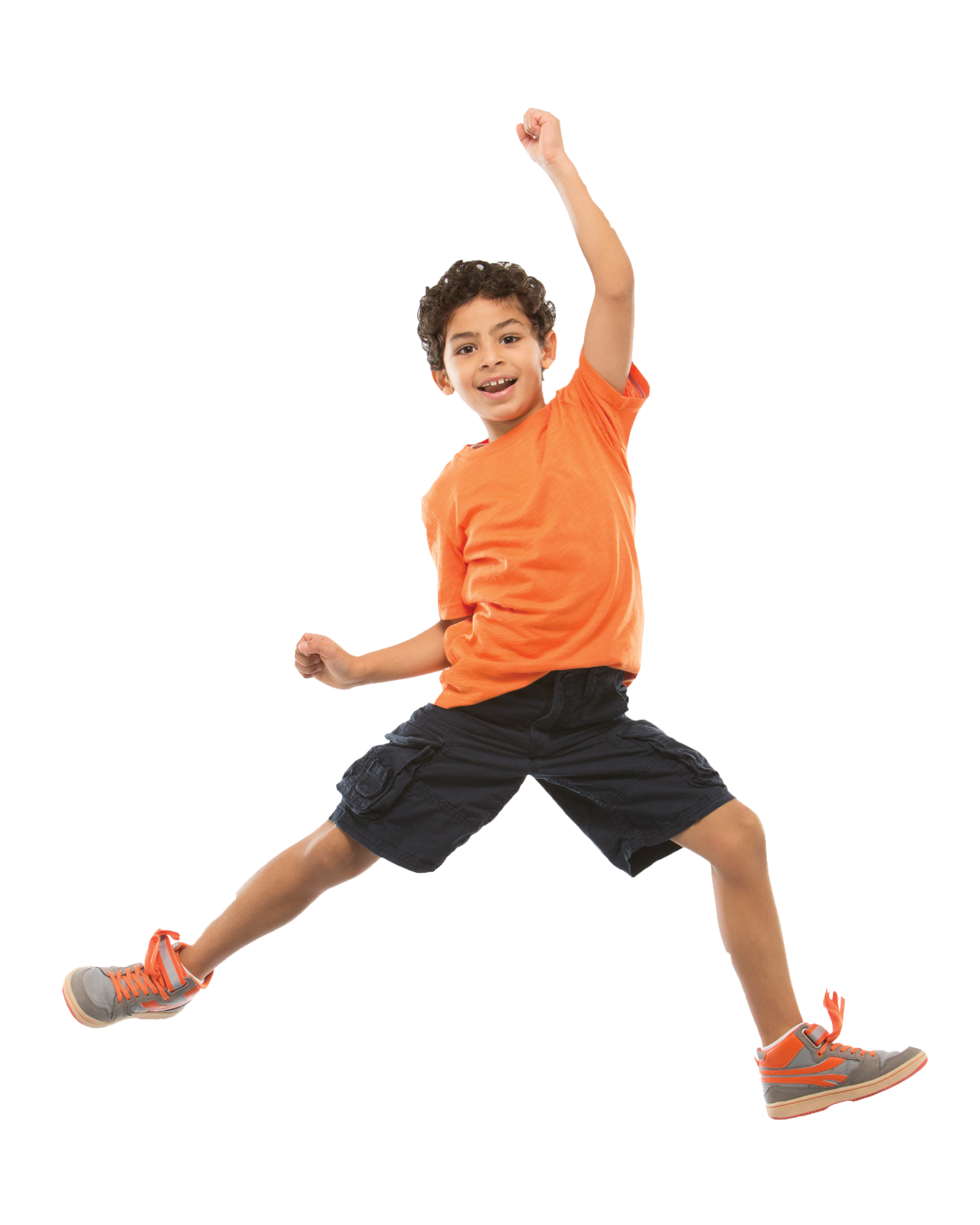 kid jumping orange